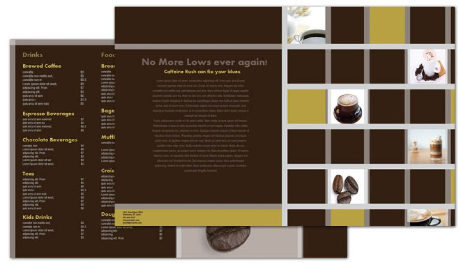 Half Fold Brochure Template For Coffee Shop Menus Order Custom Half
