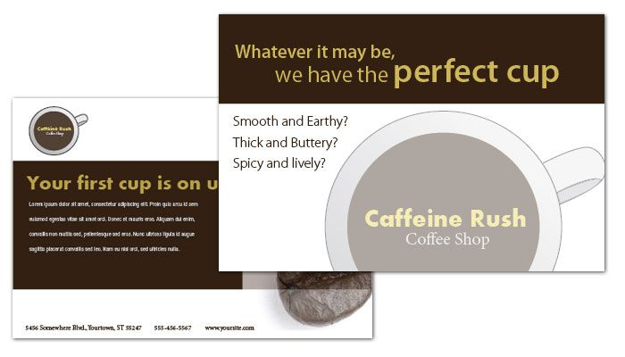 Coffee Shop Menus Postcard Design Layout