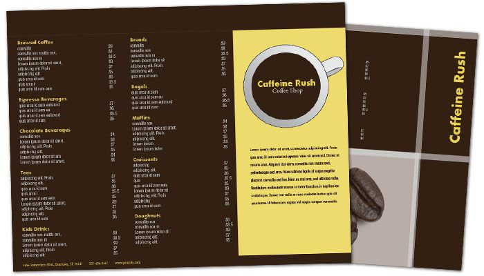 Tri Fold Brochure Template For Coffee Shop Menus. Order Custom Tri
