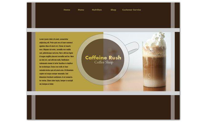 Coffee Shop Menus Website Design Layout