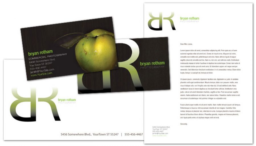 Commercial Photographer Food Photographer Letterhead Design Layout