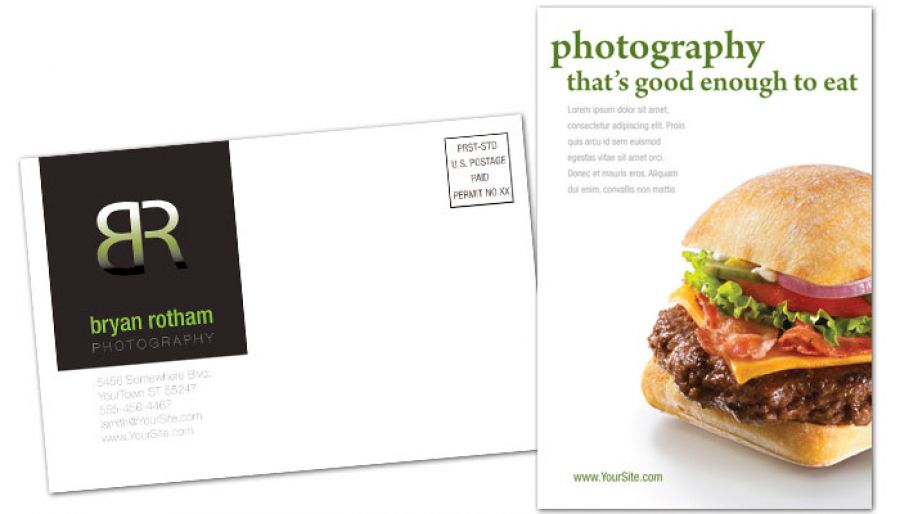 Postcard Template For Commercial Photographer Food Photographer