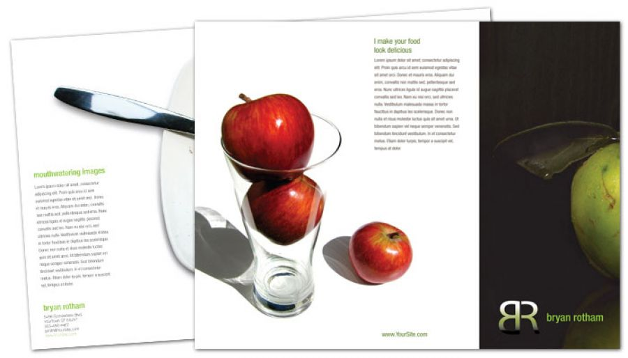 Commercial Photographer Food Photographer Tri Fold Brochure Design Layout