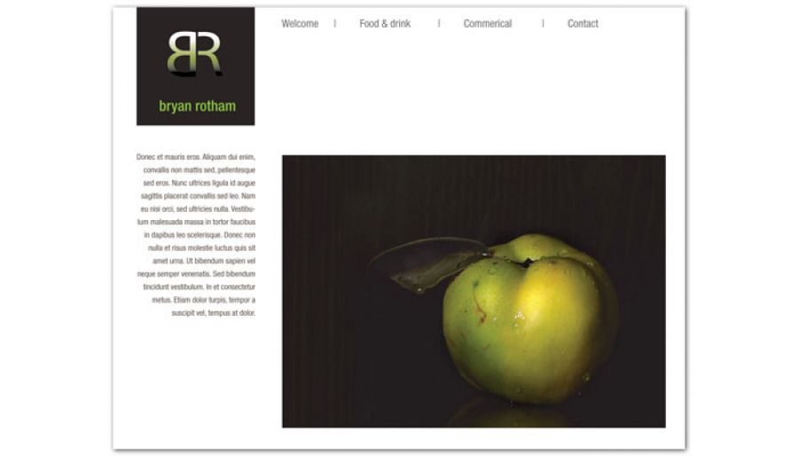 Commercial Photographer Food Photographer Website Design Layout