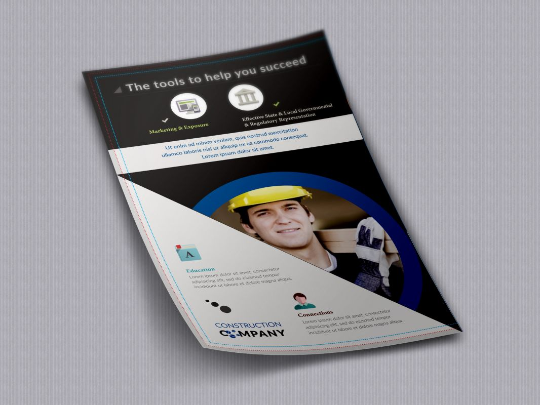 Construction Company Stationary Flyer Design Layout