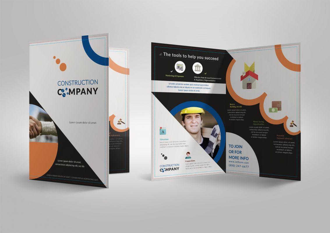 Half Fold Brochure Template For Construction Company Stationary - Single fold brochure template