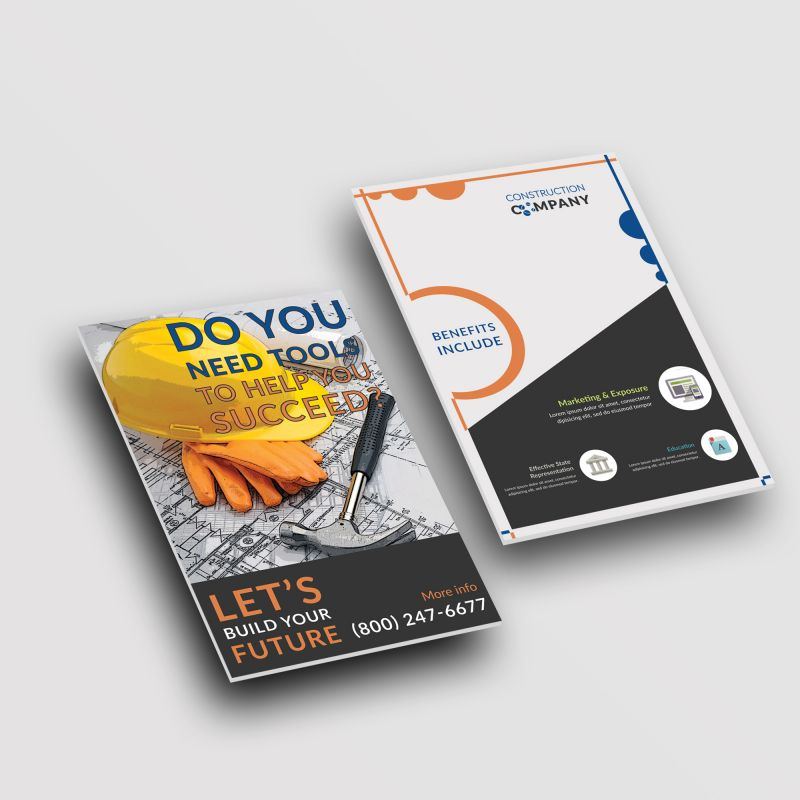Construction Company Stationary Postcard Design Layout