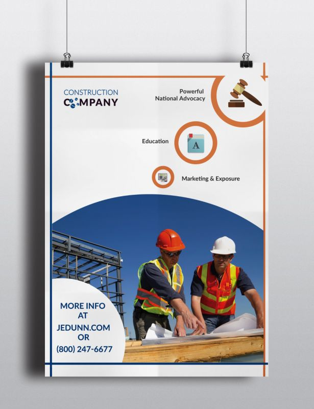 Construction Company Stationary Poster Design Layout