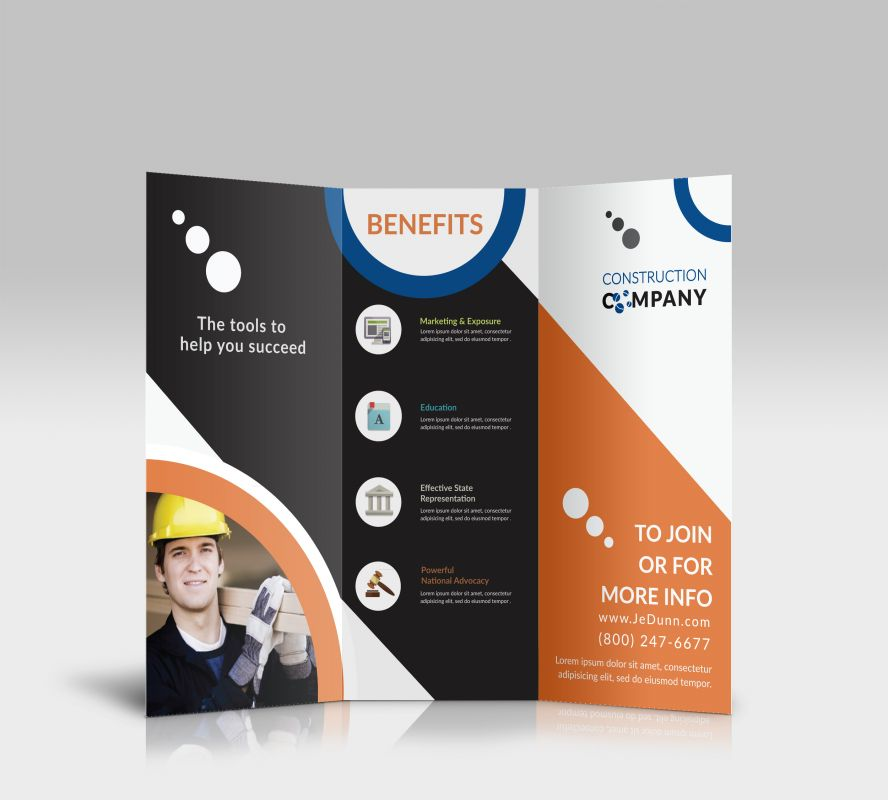 Tri fold brochure template for construction company for Custom brochure design