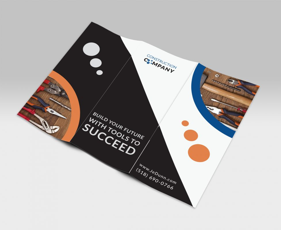 Construction Company Stationary Tri Fold Brochure Design Layout