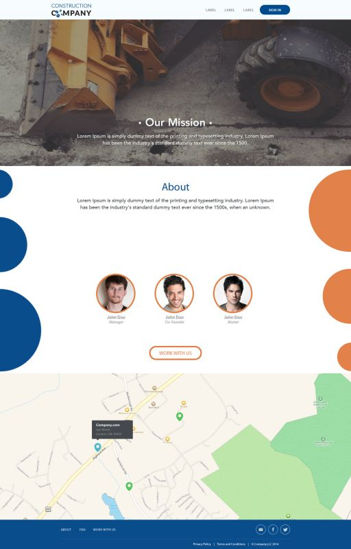 Construction Company Stationary Website Design Layout