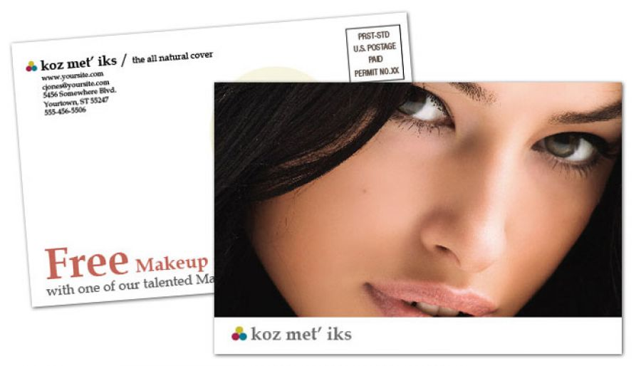 Cosmetics Makeup Consultant Postcard Design Layout