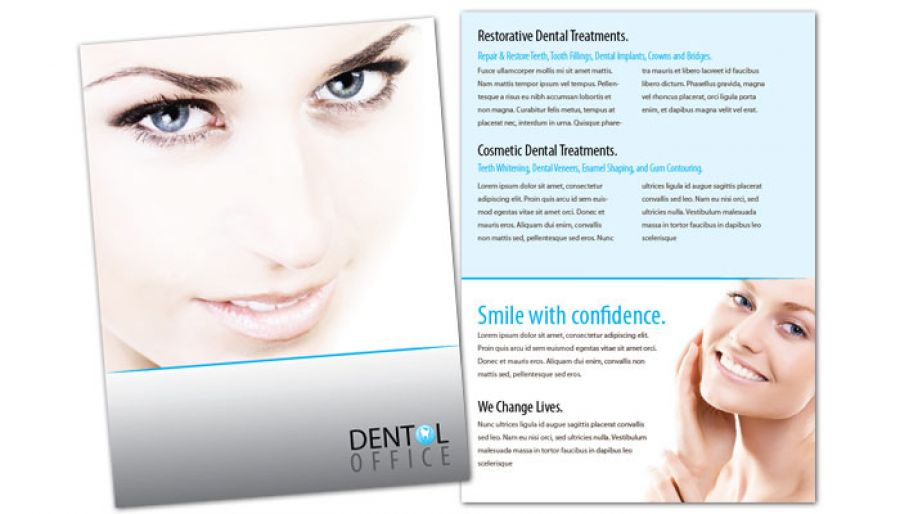 Flyer template for Dentist Dental Office. Order Custom Flyer design
