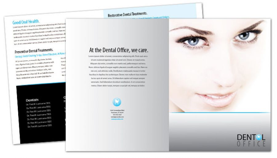 Half Fold Brochure Template For Dentist Dental Office. Order