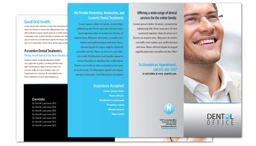 Dentist Dental Office Tri Fold Brochure Design Layout