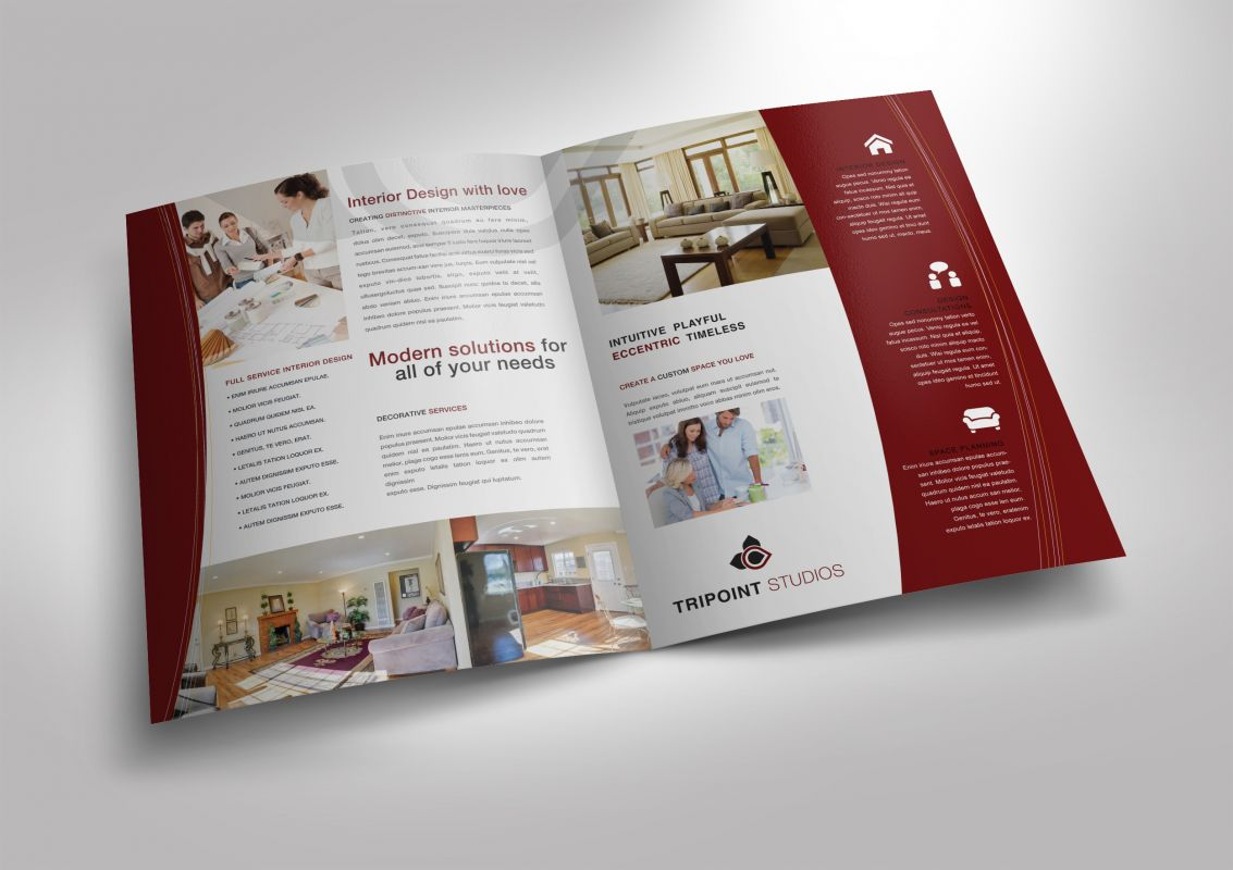 Design Company Marketing Materials Half Fold Brochure Layout