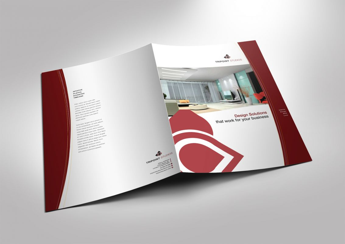 half fold brochure template for design company marketing materials