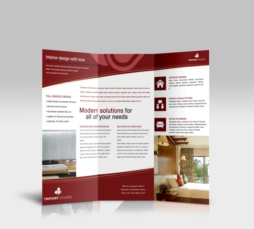 Tri fold brochure template for design company marketing for Custom brochure design