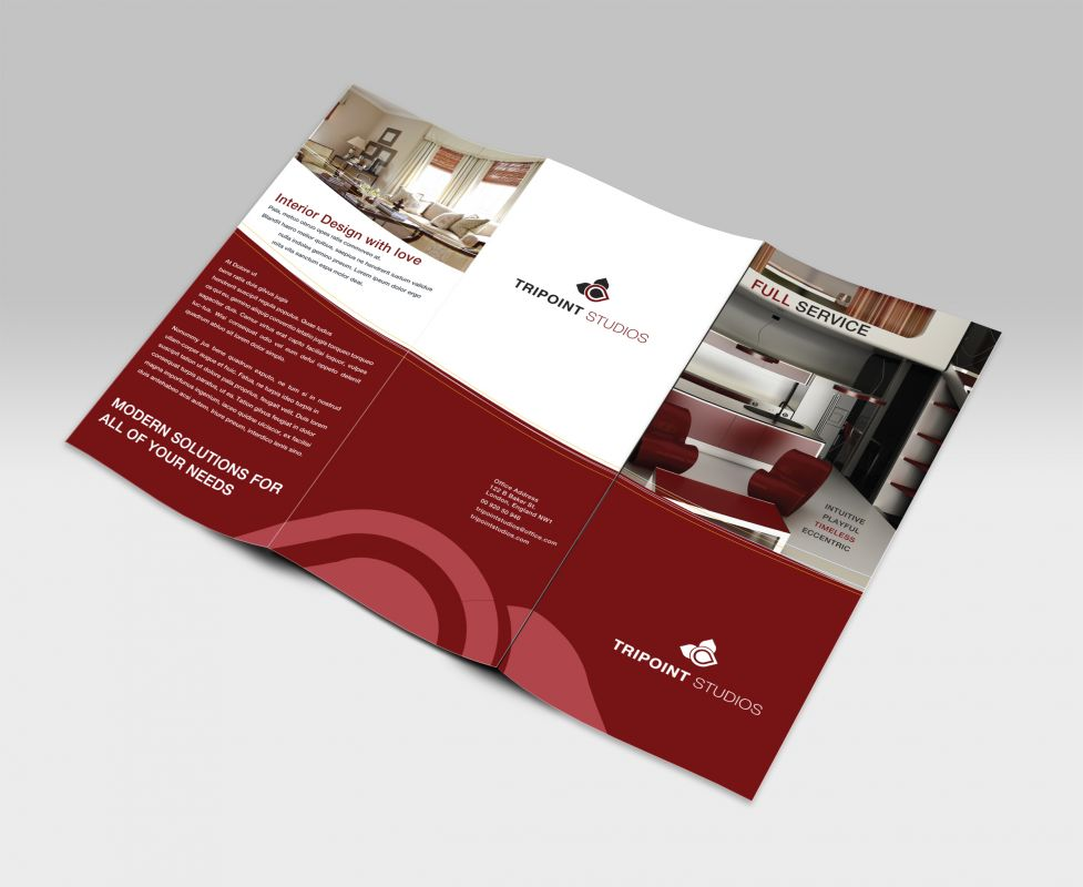 tri fold brochure template for design company marketing materials