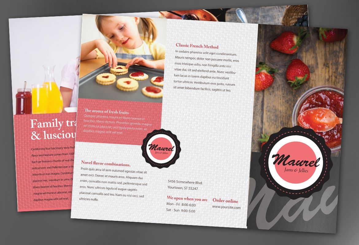 Design concept for Condiments Preserves Tri Fold Brochure Design Layout