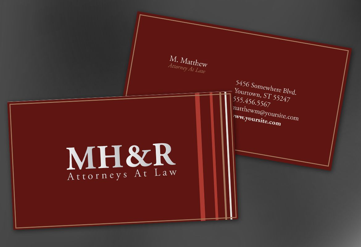 Business Card template for Design for Attorney and Legal Firms ...