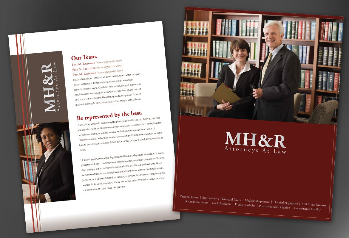Flyer template for design for attorney and legal firms for Legal brochure template