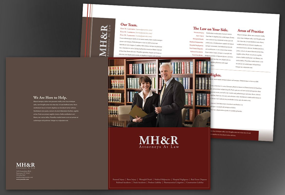 Amazing Design For Attorney And Legal Firms Half Fold Brochure Design Layout