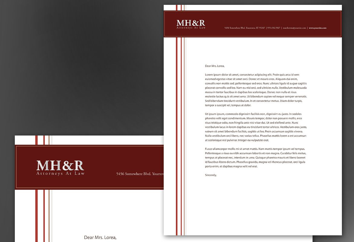 letterhead template for design for attorney and legal firms order