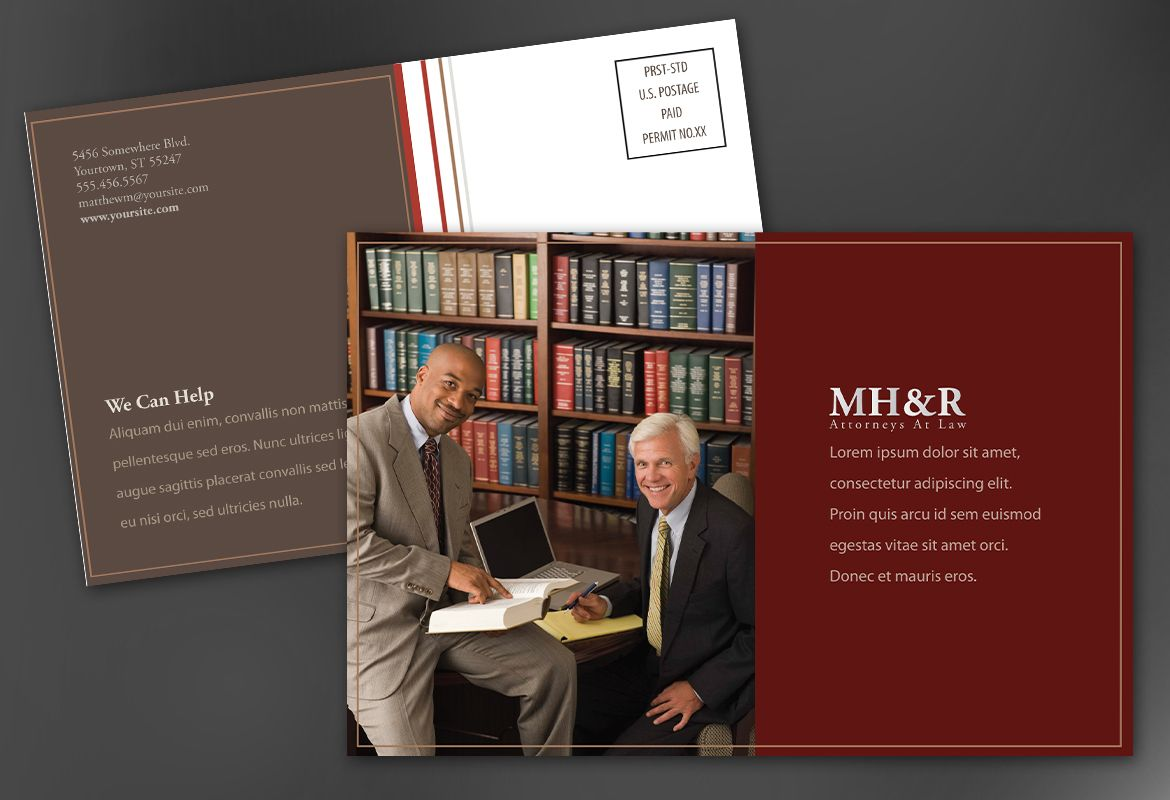 Design for Attorney and Legal Firms Postcard Design Layout