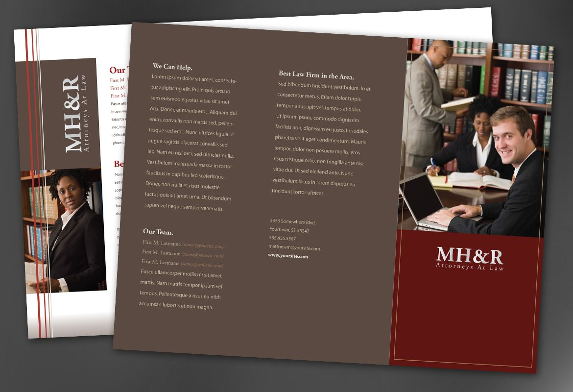 Design for Attorney and Legal Firms Tri Fold Brochure Design Layout