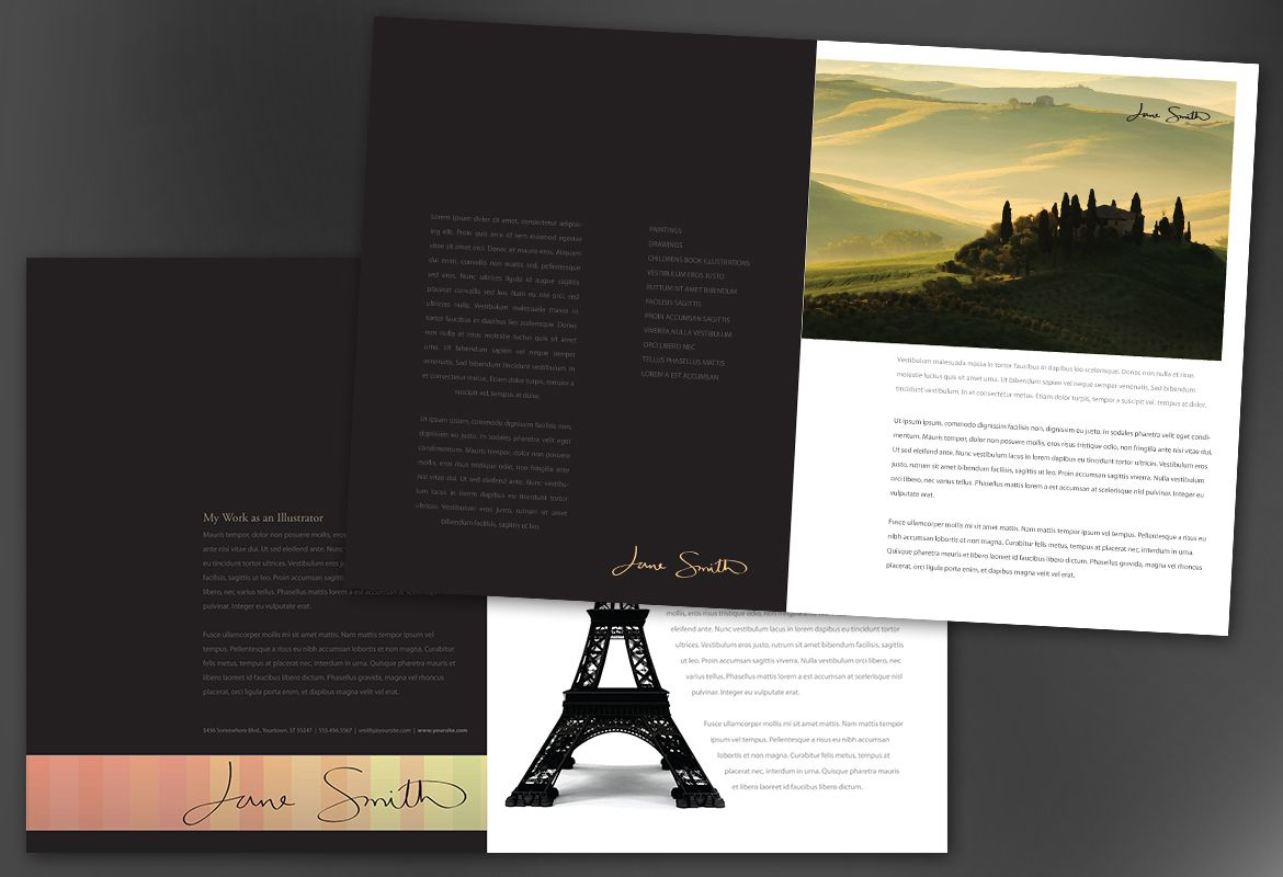 Design for Illustrator artist photographer Half Fold Brochure Design Layout