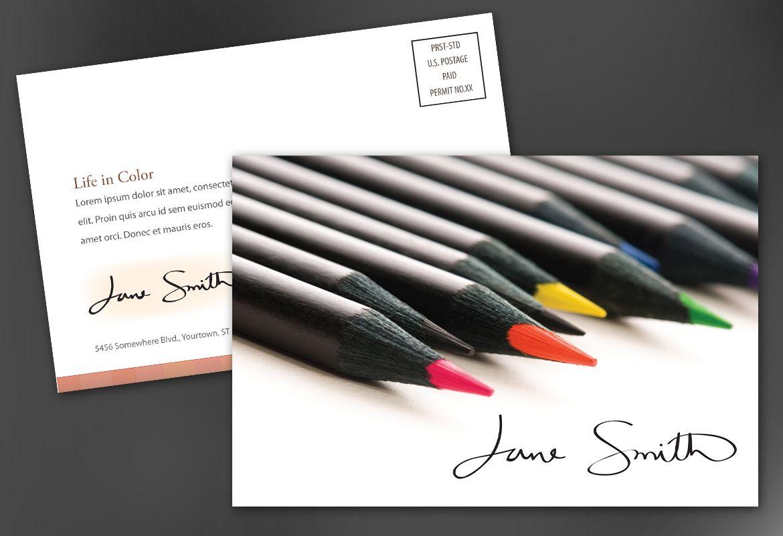 Design for Illustrator artist photographer Postcard Design Layout