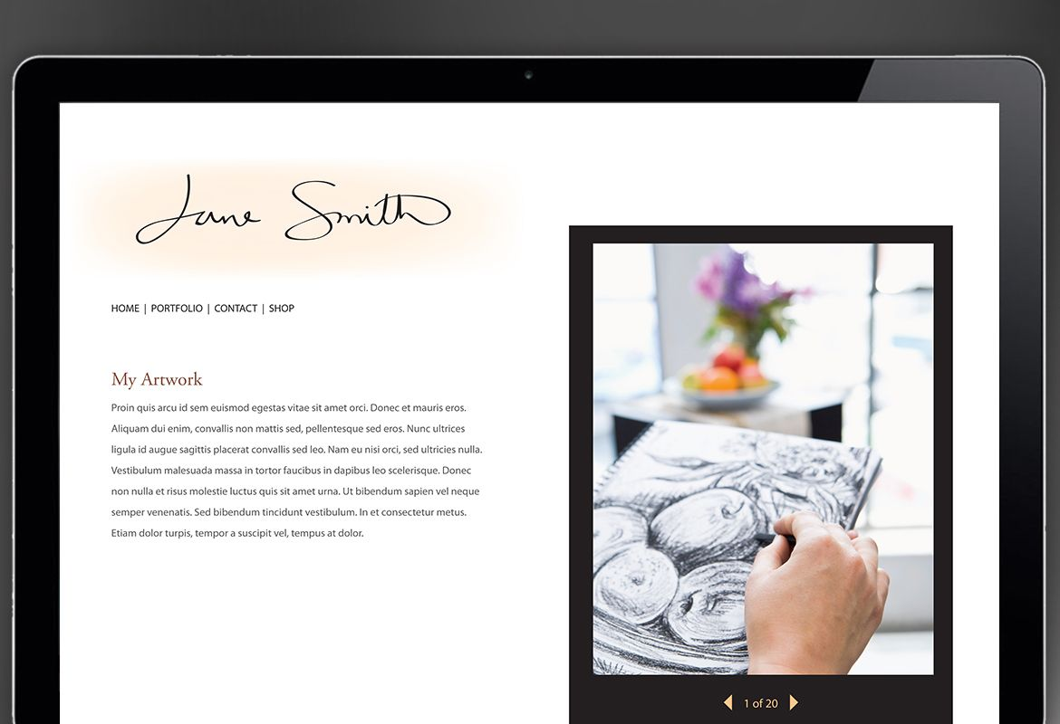 Design for Illustrator artist photographer Website Design Layout