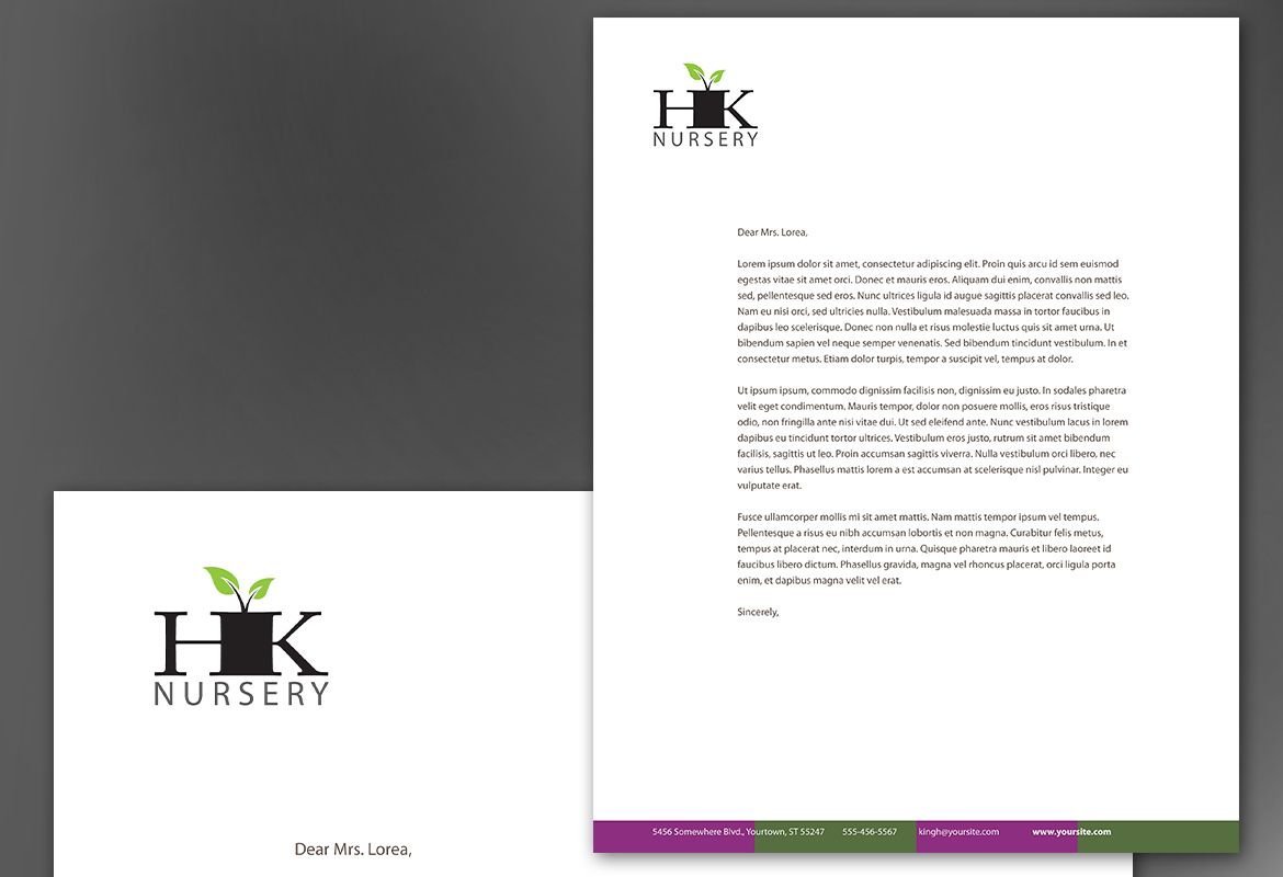 Design for nurseries amp planting centers Letterhead Design Layout
