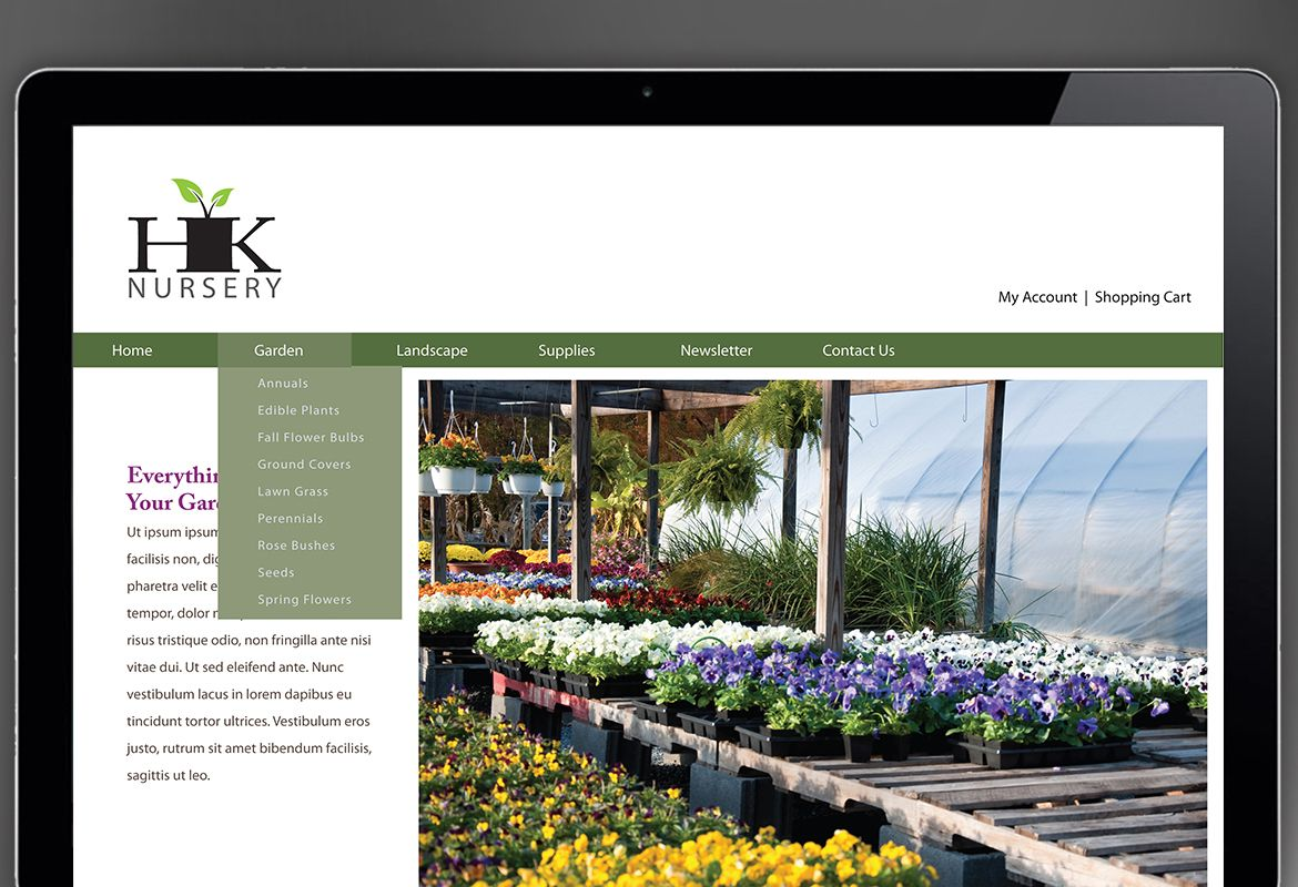 Design for nurseries amp planting centers Website Design Layout