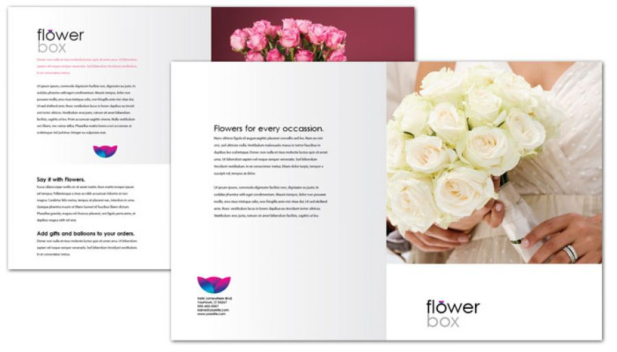 Florist Flower Shop Half Fold Brochure Design Layout