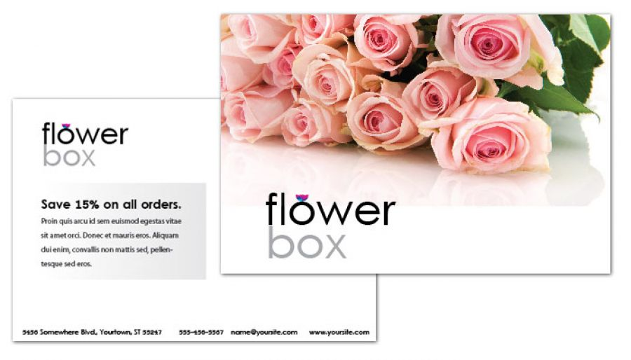 Postcard template for Florist Flower Shop. Order Custom Postcard ...