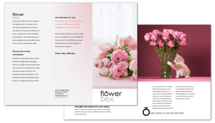 Florist Flower Shop Tri Fold Brochure Design Layout