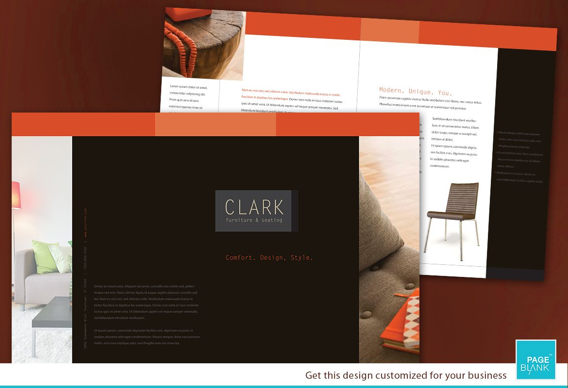 Furniture Business Half Fold Brochure Design Layout