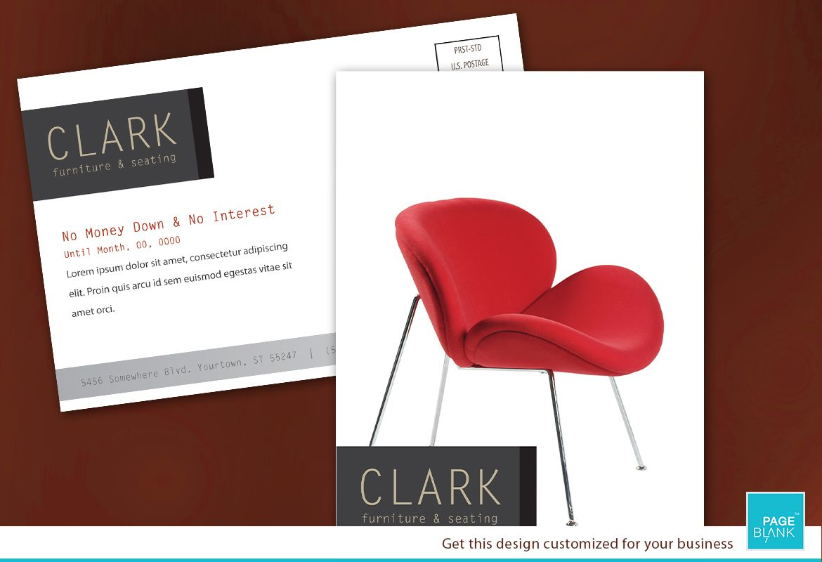 Postcard template for Furniture Business. Order Custom Postcard design