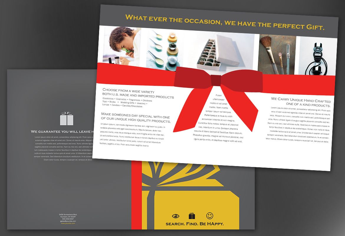 Gift Shop Retail Store Half Fold Brochure Design Layout  Pamphlet Layout