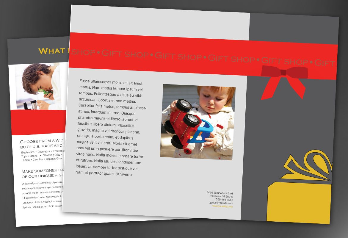 Gift shop retail store Tri Fold Brochure Design Layout