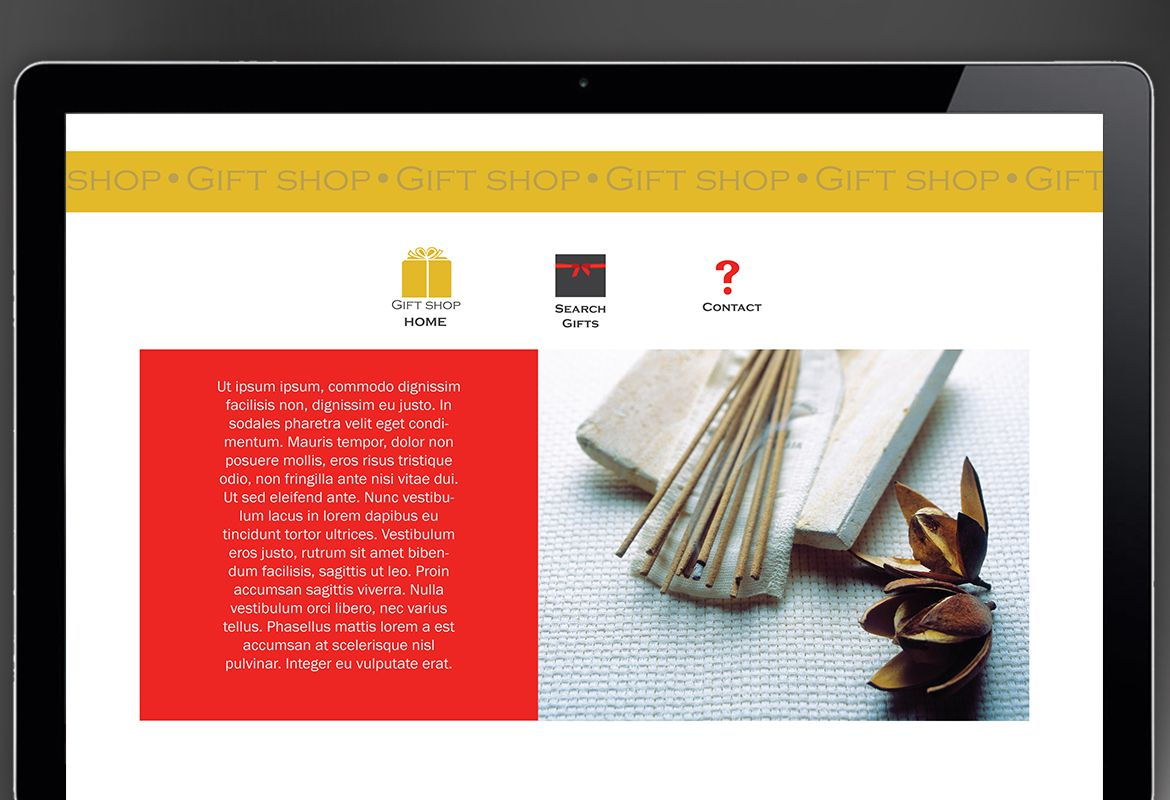 Gift shop retail store Website Design Layout