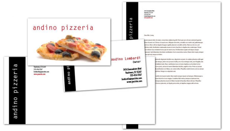 Gourmet Pizza Envelope Design Layout