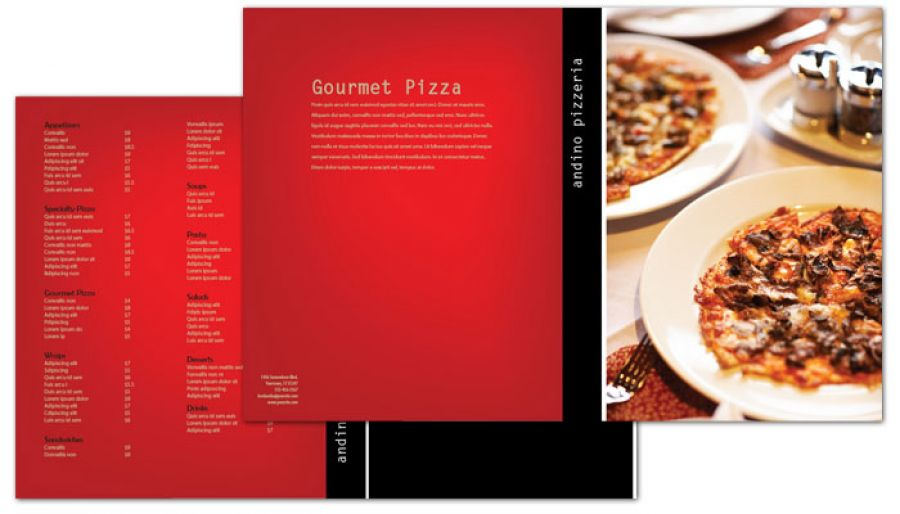Gourmet Pizza Half Fold Brochure Design Layout