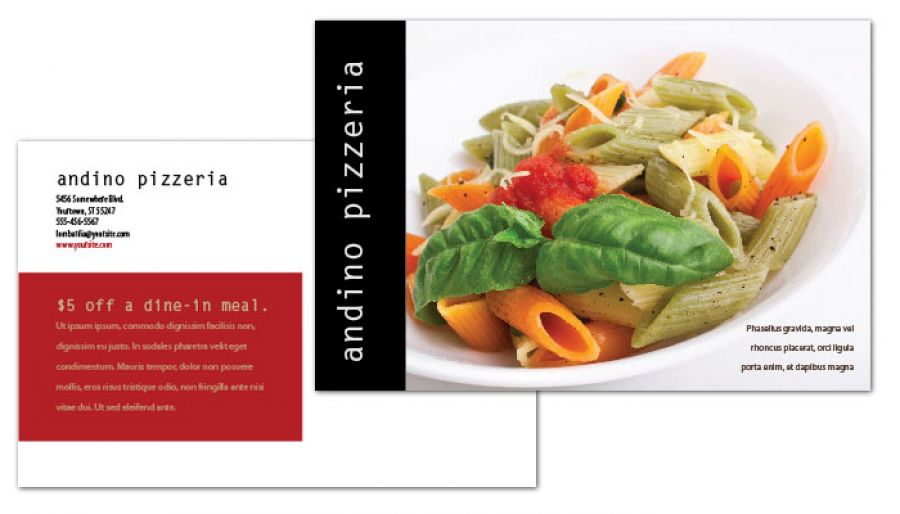 Gourmet Pizza Postcard Design Layout