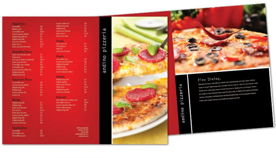 Gourmet Pizza Tri Fold Brochure Design Layout