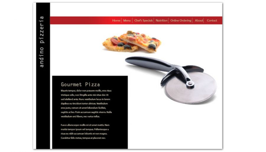 Gourmet Pizza Website Design Layout