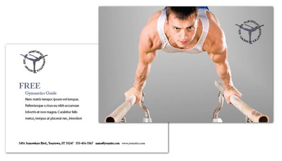 Gym Fitness Personal Trainer Postcard Design Layout