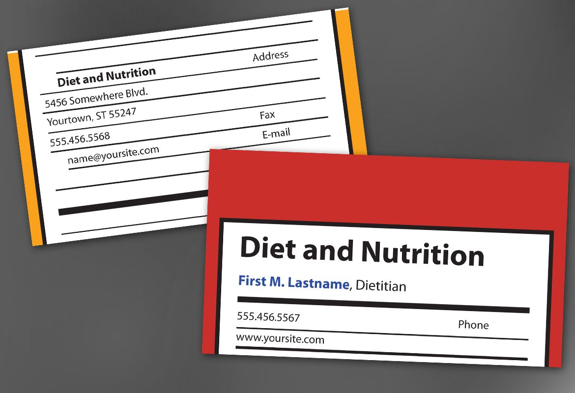 Health and Nutrition Business Card Design Layout